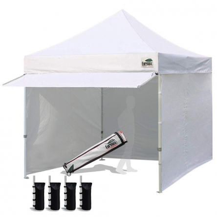Standard 10x10 Extended Awning Canopy + 4 Zipper Walls (Select Color)