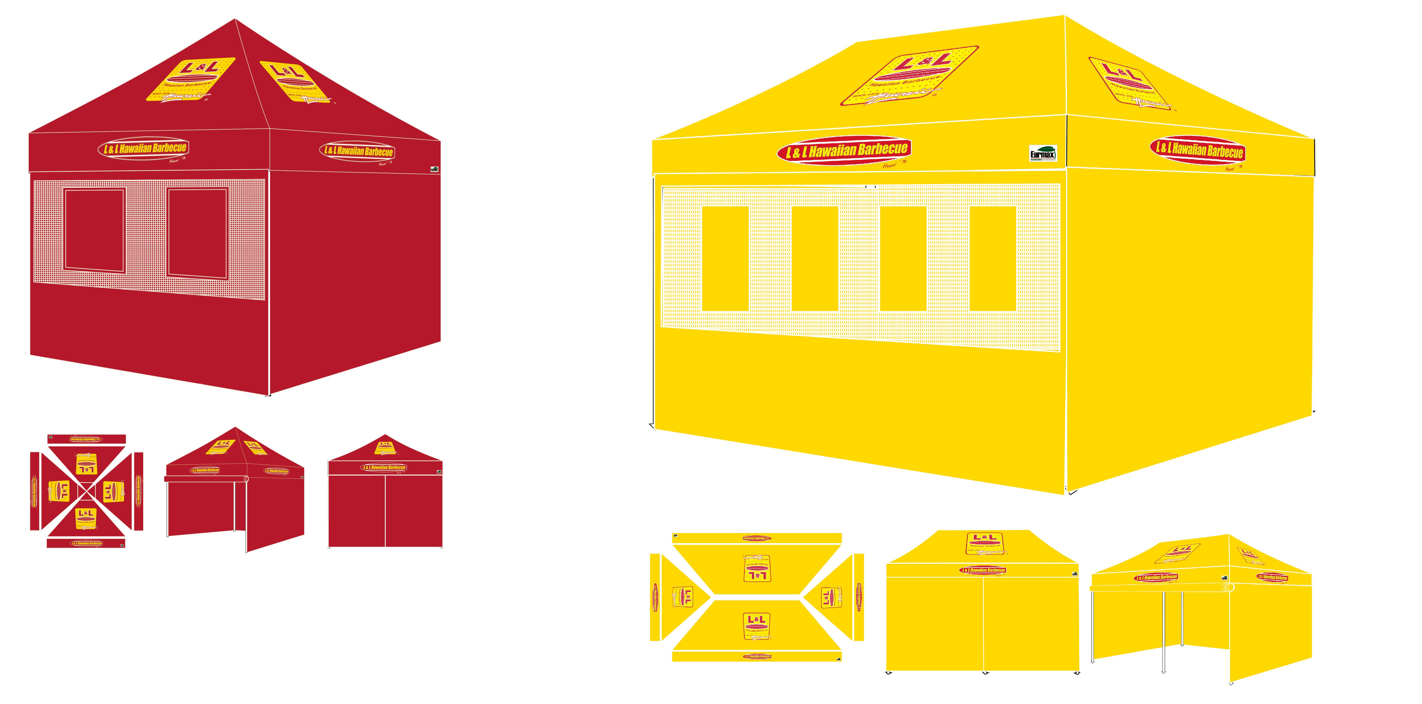 10X10 Custom Canopy with Optional Food Service walls kit L&L