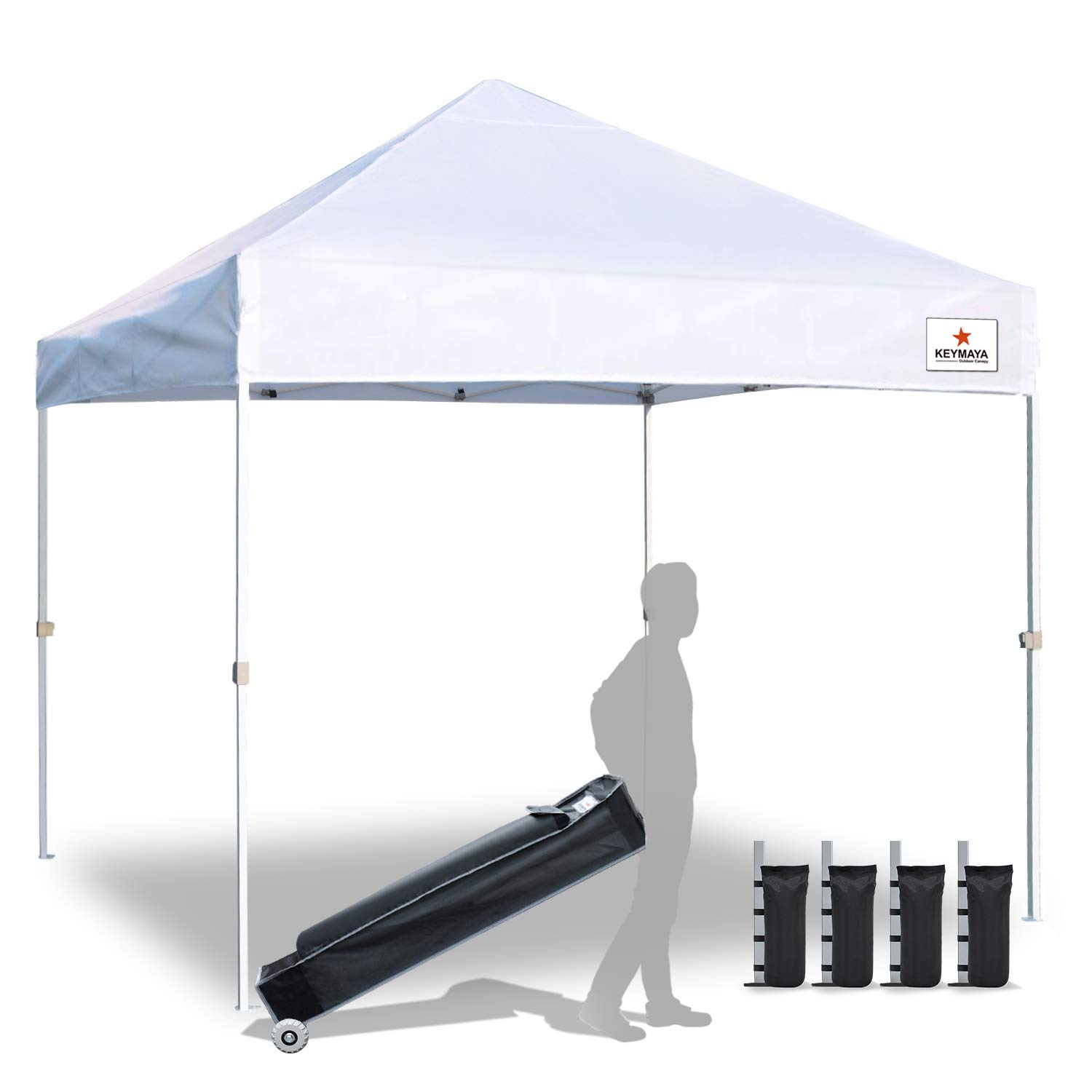 Keymaya 10x20 Ez Pop Up Canopy Tent Commercial Instant Shelter Canopies Bonus Heavy Duty Weight Bag 6-pc Pack White